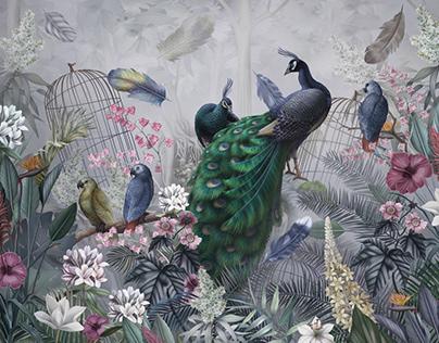 Peacocks. Photo wallpaper.