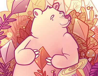 Four of Diamonds Card Illustration - Happy Bear