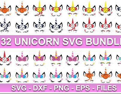 32 Unicorn SVG Bundle