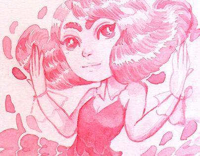 Spring Goddess - Monochromatic Watercolor