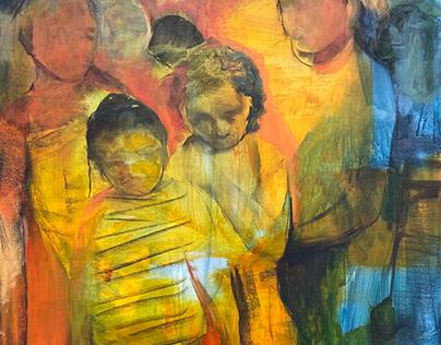 mixed media figure painting