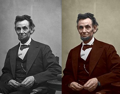 ABRAHAM LINCOLN GRAYSCALE TO COLOUR IMAGE