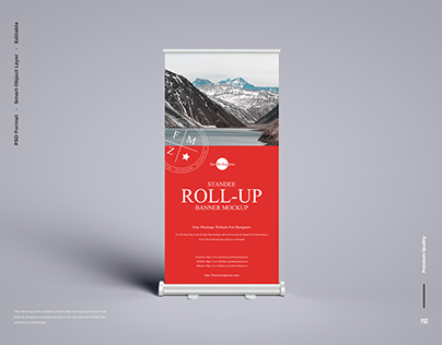 Free Banner Roll-Up Mockup