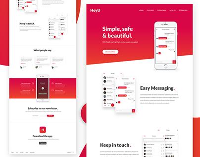HeyU - App Landing Page PSD To HTML Conversion