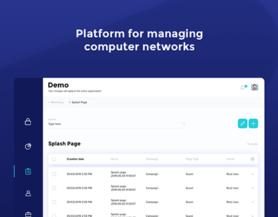Managing computer networks (Dashboard + Landing Page)