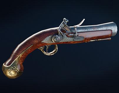 Flintlock pistol Low poly model