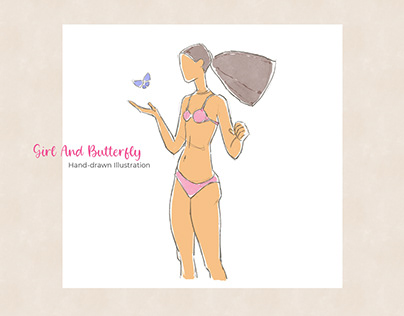 Girl And Butterfly - Hand-drawn Illustratio