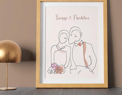 Wedding gift idea - Customized line art portrait