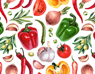 Vegetables. Illustrations and pattern designs
