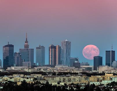 Warsaw's night cityscape