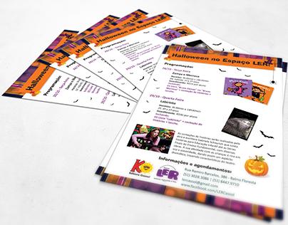 Flyer Halloween no Espaço Ler - Editora Cassol
