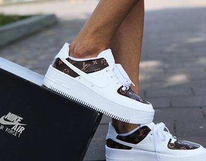 Custom Nike air Force 1 x Louis Vuitton. Custom Shoes
