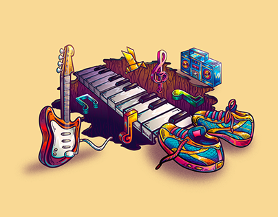 Running Music 3D illustration