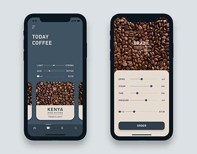 Coffee Order App Concept / Adobe XD Auto-animate