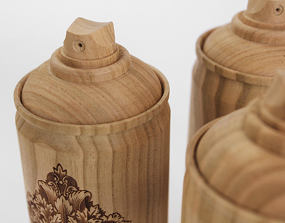 Wooden spray cans