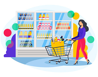 Girl with cart doing grocery shopping