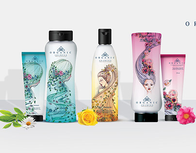 Organic hair shampoo packaging and Key Visual