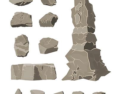 Set of rock stone. Stones rocks in variuos sizes