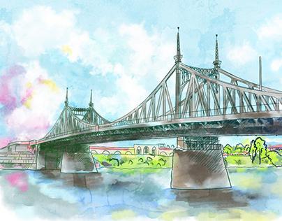 Old Volga bridge in Tver