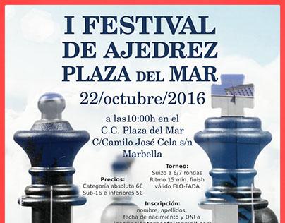 Cartel I Festival de Ajedrez Plaza del Mar. Marbella.