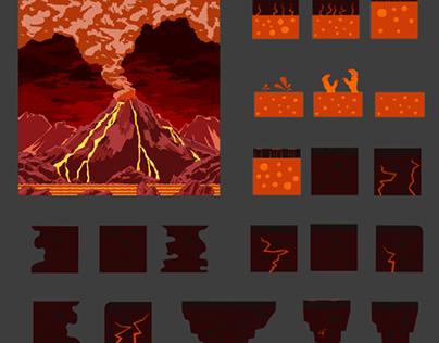 Volcano and volcanic platform