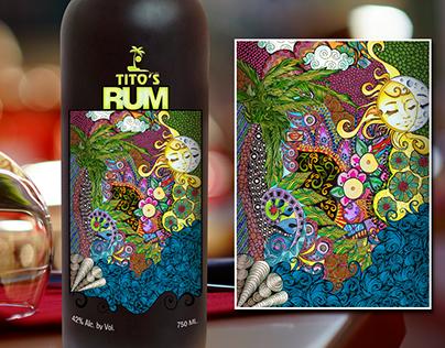 Tito's Rum Label (Caribbean Theme)