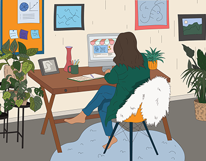 Illustrations of creating an online store