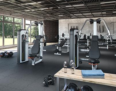 Gym interior rendering - daylight