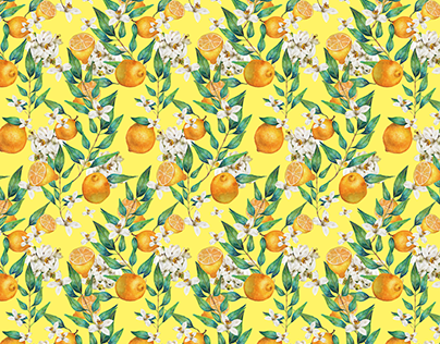 Watercolor Spring Lemon pattern