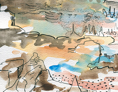 Watercolour and line drawing landscapes