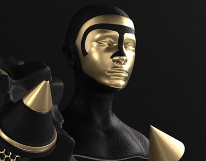 3D Human Black & Gold