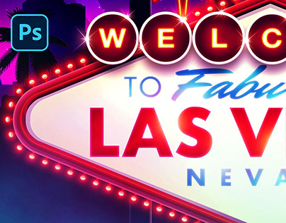 [PSD Mockup] Welcome to Fabulous Las Vegas Sign