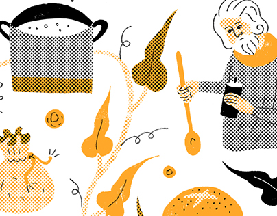 'Les Contes de la Table' book illustrations for Seuil