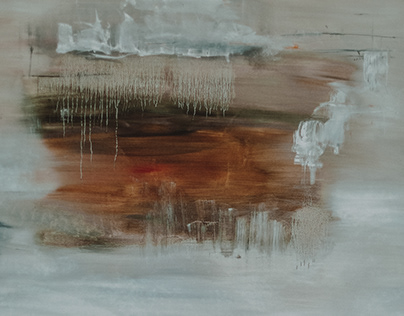 "Series of abstract painting ""Winter Caramel"""