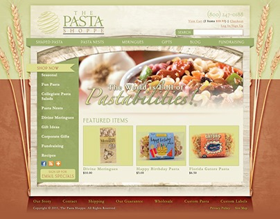 The Pasta Shoppe Site Design