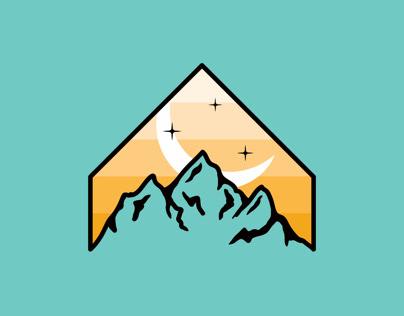 Mountain Badge (Teal & Orange)
