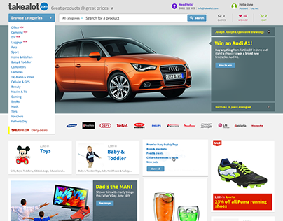 Responsive ecommerce site for Takealot