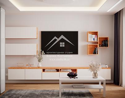 Проект интерьера гостиной в современном стиле