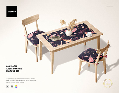 60x120cm Table Runner Mockup Set