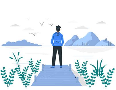 Alone & hiker illustration