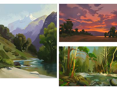 Some quick landscape/master/film studies
