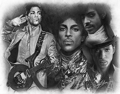 Prince Tribute Pencil Portrait Drawing - By Julio Lucas
