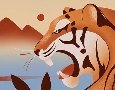Tiger Sunset (Adobe Fresco)