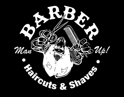 """BARBER Haircuts & Shaves"" Logo & branding"