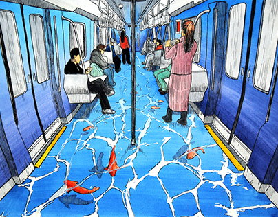 Surrealistic underground (ink and watercolour)