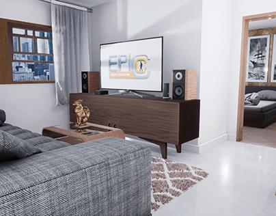 Tour Virtual 3D em Ap. quarto, sala e cozinha