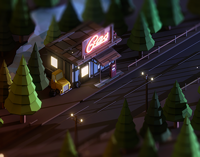Low Poly Scene: Gas Station