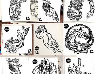 Inktober 2019 tattoo flashes