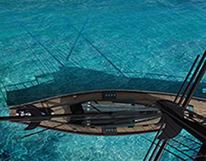 tropical sailing yacht