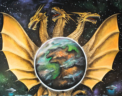 planet x king ghidora painting